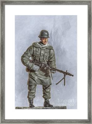 Panzer Grenadier With Machine Gun Framed Print