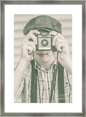 Paparazzi Press Photographer Taking A Picture Framed Print by Jorgo Photography - Wall Art Gallery