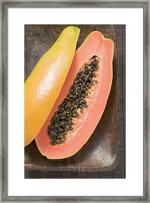 Papaya, Halved, In Wooden Bowl Framed Print
