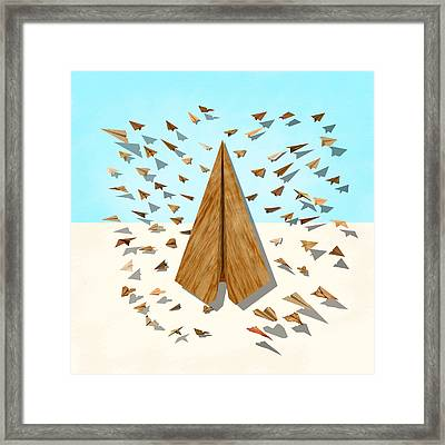 Paper Airplanes Of Wood 10 Framed Print by YoPedro