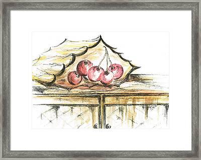 Paper Bag Of Cherries Framed Print by Teresa White