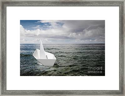 Paper Boat Framed Print by Carlos Caetano