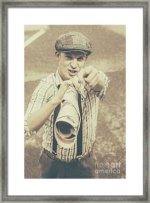 Paper Boy Yelling Out Breaking News Headlines Framed Print by Jorgo Photography - Wall Art Gallery
