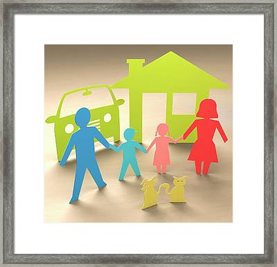 Paper Family With House Framed Print by Ktsdesign