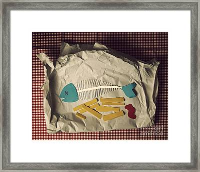 Paper Fish And Chips Framed Print by Catherine MacBride