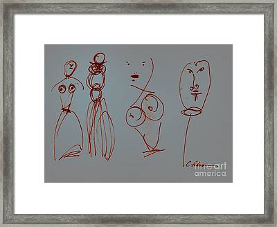 Paper Graffiti.  Allure And Temptation Wire On Gray Framed Print by Cathy Peterson