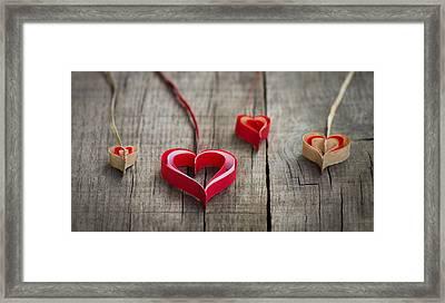 Paper Hearts Framed Print