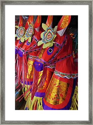 Paper Made Horse Used In Funeral Framed Print by Keren Su