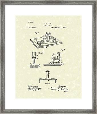 Paper Punch 1889 Patent Art Framed Print by Prior Art Design