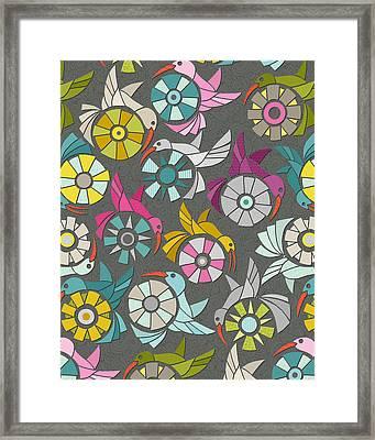 Paper Sunbirds Graphite Framed Print