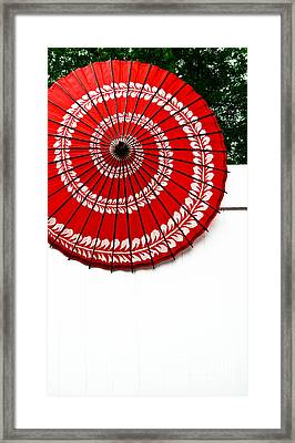 Paper Umbrella With Swirl Pattern On Fence Framed Print by Amy Cicconi