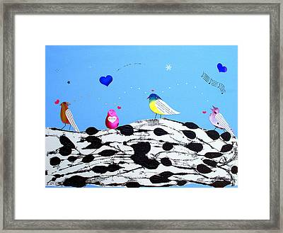 Framed Print featuring the painting Paperbirch Friends by Christine Ricker Brandt