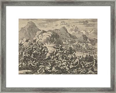 Pappenheim Beats The Resurrected Farmers In Austria Framed Print by Jan Luyken And Pieter Van Der Aa (i)
