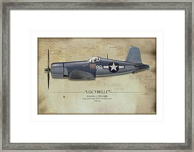 Pappy Boyington F4u Corsair - Map Background Framed Print by Craig Tinder