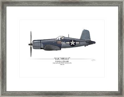 Pappy Boyington F4u Corsair - White Background Framed Print by Craig Tinder