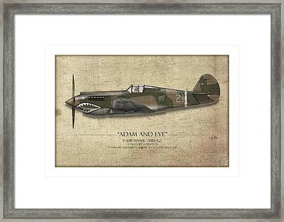 Pappy Boyington P-40 Warhawk - Map Background Framed Print