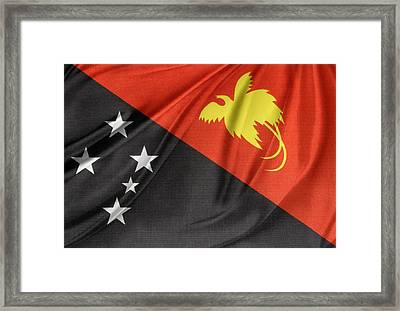 Papua New Guinea Flag Framed Print by Les Cunliffe