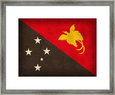 Papua New Guinea Flag Vintage Distressed Finish Framed Print by Design Turnpike