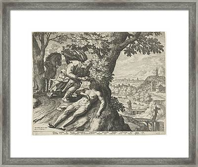 Parable Of The Good Samaritan, Johann Sadeler Framed Print