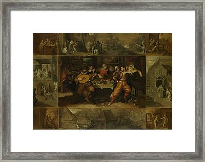 Parable Of The Prodigal Son, Frans Francken Framed Print
