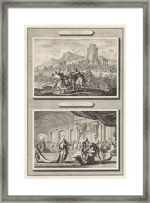 Parable Of The Tenants Of The Vineyard And The Parable Framed Print by Jan Luyken And Pieter Mortier And Anonymous