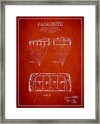 Parachute Design Patent From 1964 - Red Framed Print by Aged Pixel