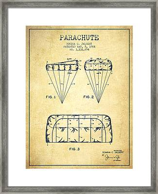 Parachute Design Patent From 1964 - Vintage Framed Print