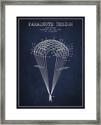 Parachute Design Patent From 1998 - Navy Blue Framed Print by Aged Pixel