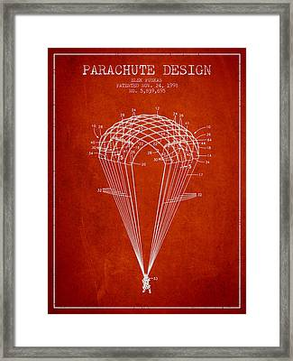 Parachute Design Patent From 1998 - Red Framed Print by Aged Pixel