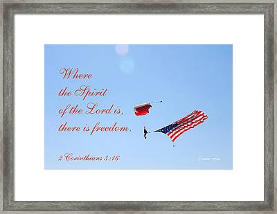 Parachuting With Old Glory Framed Print by Connie Fox