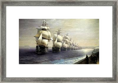 Parade Of The Black Sea Fleet In 1849 Framed Print