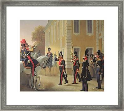 Parading Of The Standard Of The Great Palace Guards Framed Print by Adolph Gebens