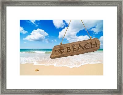 Paradise Beach Sign Algarve Portugal Framed Print by Amanda Elwell