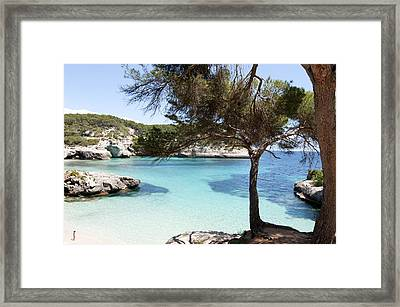 Paradise In Minorca Is Called Cala Mitjana Beach Where Sand Is Almost White And Sea Is A Deep Blue  Framed Print