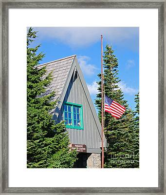 Paradise Ranger Station And Old Glory Framed Print by Connie Fox