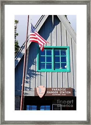 Paradise Ranger Station. Mt. Rainier National Park Framed Print by Connie Fox