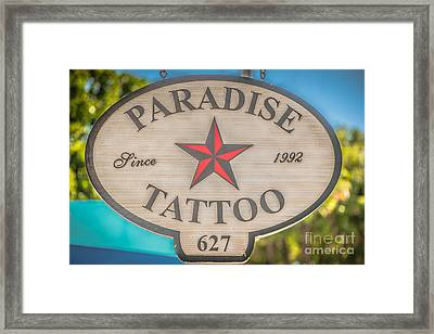 Paradise Tattoo Key West - Hdr Style Framed Print by Ian Monk