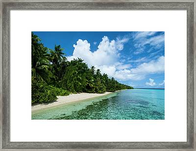 Paradise White Sand Beach In Turquoise Framed Print by Michael Runkel