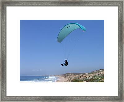 Paraglider Over Sand City Framed Print