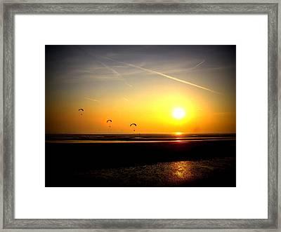 Paragliders At Sunset Framed Print