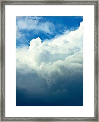Paragliding In Changing Weather Framed Print by Viacheslav Savitskiy