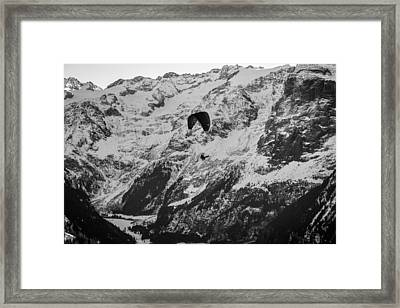 Paragliding In The Swiss Alps Framed Print by Yuri Fineart