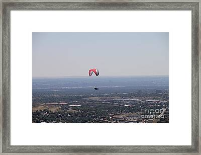 Framed Print featuring the photograph Paragliding Over Golden by Chris Thomas