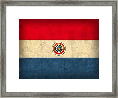 Paraguay Flag Vintage Distressed Finish Framed Print