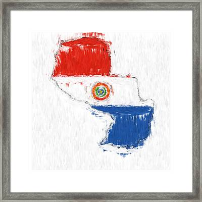 Paraguay Painted Flag Map Framed Print by Antony McAulay