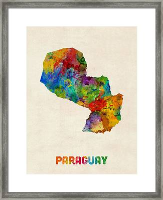 Paraguay Watercolor Map Framed Print by Michael Tompsett