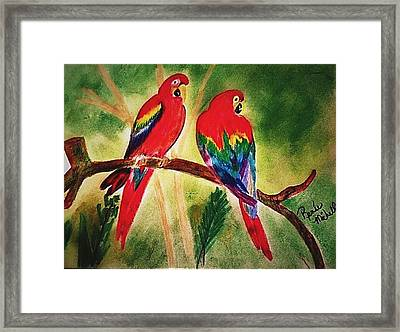Parakeets In Paradise Framed Print