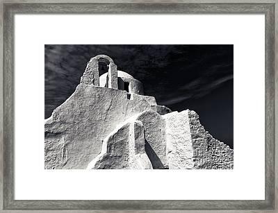 Paraportiani Church Mono Framed Print by John Rizzuto