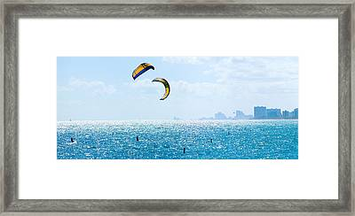 Parasailing Over The Atlantic Ocean Framed Print