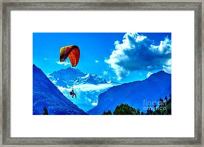 Framed Print featuring the photograph Parasailing Swiss Alps by Joe  Ng